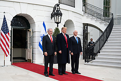 March 25, 2019 - Washington, District of Columbia, U.S. - President DONALD TRUMP, joined by Vice President MIKE PENCE, welcomes Israeli Prime Minister BENJAMIN NETANYAHU Monday, March 25, 2019, to the South Portico entrance of the White House.  (Credit Image: ? White House/ZUMA Wire/ZUMAPRESS.com)