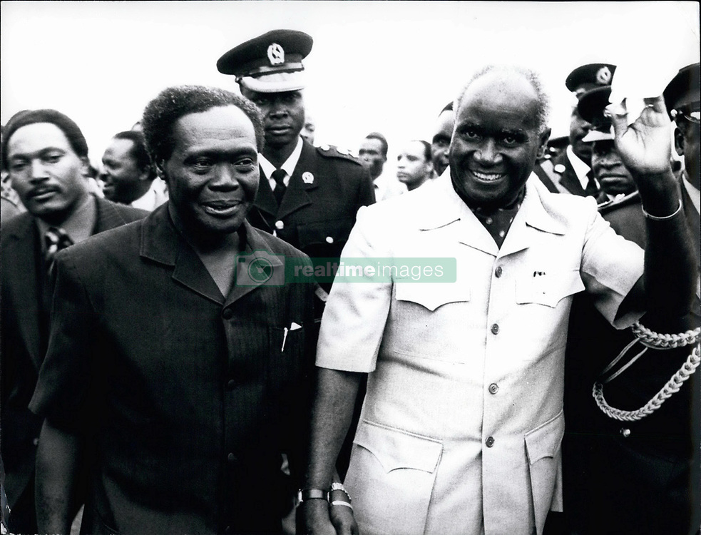Feb. 26, 2012 - President Milton Obote of Uganda and President Kenneth Kaunda of Zambia walk together in Kampala before an historic heads of state summit in in which Kenya and Tanzania took part. (Credit Image: © Keystone Pictures USA/ZUMAPRESS.com)