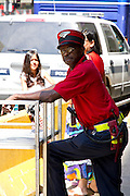 An Amtrak employee photographed in Chicago