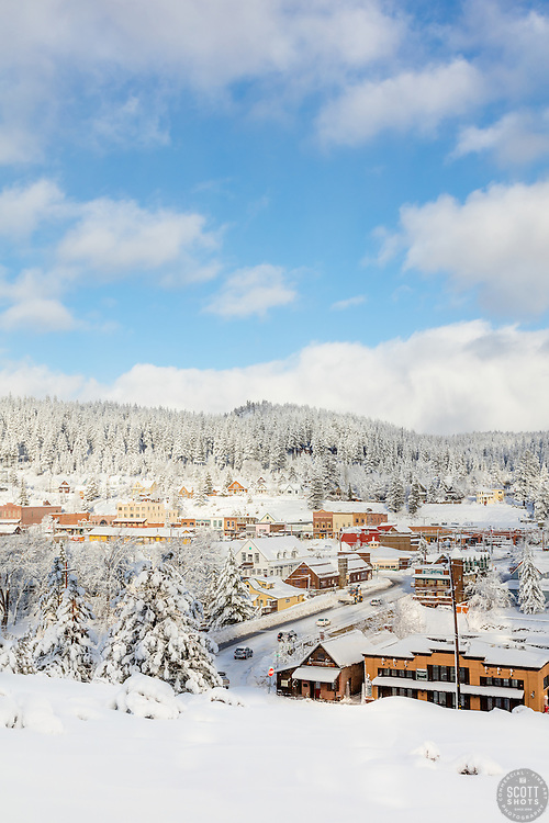 """""""Downtown Truckee 33"""" - Photograph of a snowy historic Downtown Truckee, shot in the morning after a big snow storm."""
