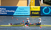 Poznan, POLAND, 23rd June 2019, Sunday, USA1 W2-, (b) KALMOE Megan and EISSER Tracy, competing in the A Final, winning a Bronze medal, at the FISA World Rowing Cup II, Malta Lake Course, © Peter SPURRIER/Intersport Images, <br /> <br /> 11:16:42