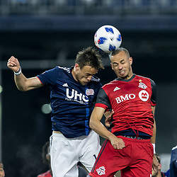 May 12, 2018 - Foxborough, Massachusetts, USA - Foxborough, Massachusetts - May 12, 2018: First half action. In a Major League Soccer (MLS) match, New England Revolution (blue/white) vs Toronto FC (red), at Gillette Stadium. (Credit Image: © Andrew Katsampes/ISIPhotos via ZUMA Wire)