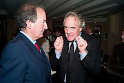 CHARLES MOORE; HENRY PORTER; , Graydon Carter hosts a dinner to celebrate the reopening og the American Bar at the Savoy.  Savoy Hotel, Strand. London. 28 October 2010. -DO NOT ARCHIVE-© Copyright Photograph by Dafydd Jones. 248 Clapham Rd. London SW9 0PZ. Tel 0207 820 0771. www.dafjones.com.