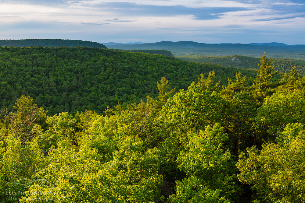 View from the fire tower on Pawtuckaway Mountain in Pawtuckaway State Park. Deerfield, New Hampshire.