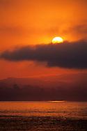 Fog bank rolling in at sunrise over Monterey Bay, from Capitola Beach, Santa Cruz County, CALIFORNIA