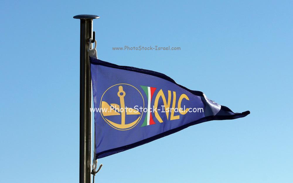 The flag and logo of 'Noutica Lago Como shipping company at Lake Como, Italy