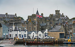 Harbour Esplanade with Union flag flying  in Lerwick, Shetland , Scotland, UK