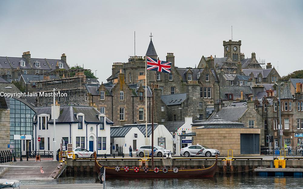 Harbour Esplanade with Union flag flying  in Lerwick, Shetland , Scotland, UK