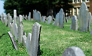 Gravestones in Copp's Hill burial ground.  These are some of the oldest gravestones in Boston with some dating back to the 1600's.  This is located on part of the Freedom Trail.