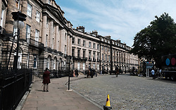 """Moray Place in Edinburgh's Georgian old town was turned into 19th century London for Julian Fellowes' new ITV show """"Belgravia"""".<br /> <br /> Pictured: General view of the set<br /> <br /> Alex Todd 