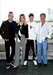 Robbie William, Ayda Field, Louis Tomlinson and Simon Cowell attending the X Factor photocall held at Somerset House, London.