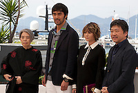 Actress Kirin Kiki, Actor Abe Hiroshi, actress Maki Yoko and director Hirokazu Koreeda at the After The Storm film photo call at the 69th Cannes Film Festival Wednesday 18th May 2016, Cannes, France. Photography: Doreen Kennedy