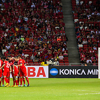 The Singapore team prior to the group stage match of the AFF Suzuki Cup between Singapore and Thailand at the National Stadium at the Singapore Sports Hub on November 23, 2014, in Singapore.