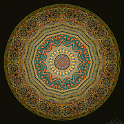 """Sacred art mandala inspired by ancient manuscripts with colors ranging from orange-gold to emerald green and geometrically """"feng shuied"""" tailsmanic symbols from Ethiopia."""