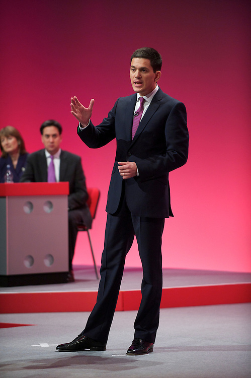 David Miliband delivers a speech to delegates attending the Labour Autumn Conference in Manchester on 27 September 2010.