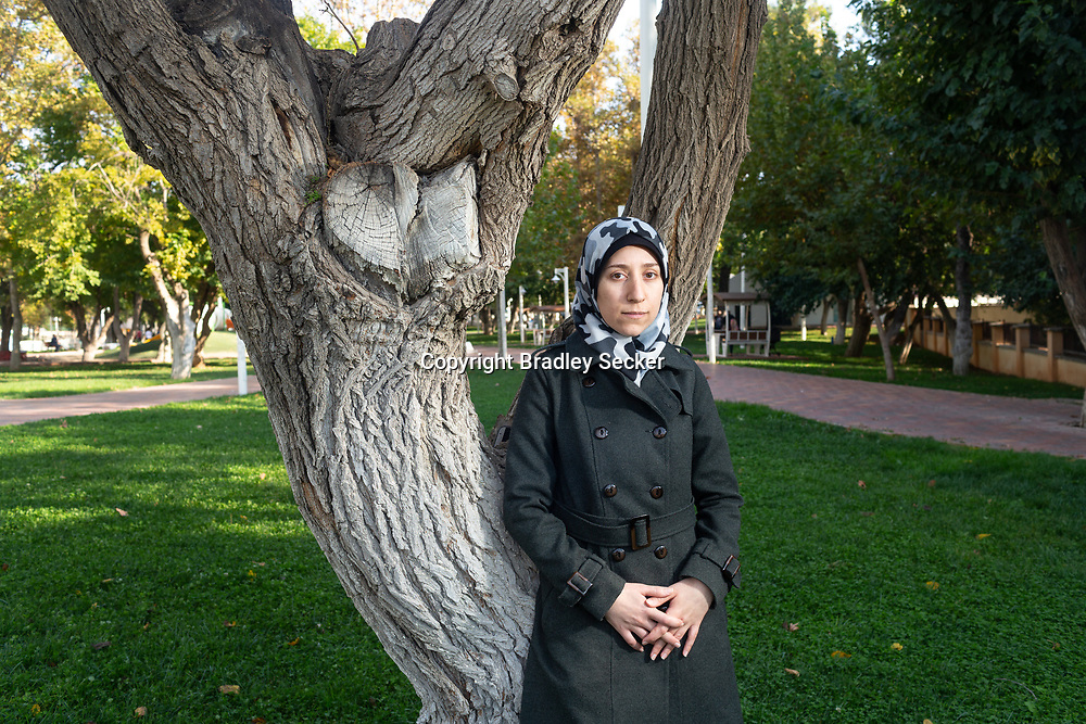 Dr Amani Ballour in a park near her home in Gaziantep, southern Turkey.