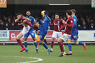 AFC Wimbledon attacker Harry Forrester (11) battles for possession during the EFL Sky Bet League 1 match between AFC Wimbledon and Northampton Town at the Cherry Red Records Stadium, Kingston, England on 10 February 2018. Picture by Matthew Redman.