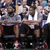 01 April 2012: Miami Heat shooting guard Dwyane Wade (3), Miami Heat small forward LeBron James (6), Miami Heat power forward Chris Bosh (1) and Miami Heat power forward Udonis Haslem (40) are seen on the bench in the final minute of the Boston Celtics 91-72 victory over the Miami Heat at the TD Banknorth Garden, Boston, Massachusetts, USA. NOTE TO USER: User expressly acknowledges and agrees that, by downloading and or using this photograph, User is consenting to the terms and conditions of the Getty Images License Agreement. Mandatory Credit: 2012 NBAE (Photo by Chris Elise/NBAE via Getty Images)