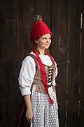 Natalie, member of the Wechmarer Heimatverein e.V., is wearing a traditional costume in Günthersleben-Wechmar, Germany on April 3, 2018.<br /> <br /> Groom: David