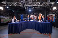 UTRECHT - Algemene  Ledenvergadering KNHB online vanuit het kantoor De Weerelt van de Sport.  . achter de tafel Catrien Zijlstra (secretaris) , Erik Cornelissen (Voorz.)en Erik Gerritsen (dir.)   -  COPYRIGHT KOEN SUYK