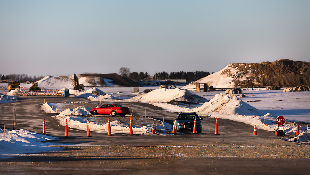 Security blocks off access to Foxconn's Mount Pleasant technology campus in Mount Pleasant, Wisconsin, Sunday, March 3, 2019.