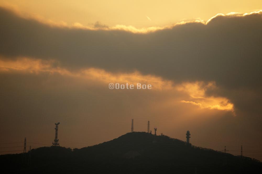 various transmitter masts on crest of hill, Japan Yokosuka