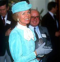 The Duchess of Kent at the House of Sport during a two-day visit to N Ireland, February, 1986. Also in the photo is Victor Haslett, NI Sports Council. 1986020501<br /> <br /> Copyright Image from Victor Patterson, 54 Dorchester Park, <br /> Belfast, UK, BT9 6RJ<br /> <br /> t1: +44 28 9066 1296 (from Rep of Ireland 048 9066 1296)<br /> t2: +44 28 9002 2446 (from Rep of Ireland 048 9002 2446)<br /> m: +44 7802 353836<br /> <br /> e1: victorpatterson@me.com<br /> e2: victorpatterson@gmail.com<br /> <br /> www.victorpatterson.com<br /> <br /> Please see my Terms and Conditions of Use at VICTORPATTERSON.COM. It is IMPORTANT that you familiarise yourself with them.<br /> <br /> Images used on the Internet must be visibly watermarked i.e. ©VICTORPATTERSON.COM within the body of the image and copyright metadata must not be deleted. Images used on the Internet have a size restriction of 4kbs and are chargeable at the then current NUJ rates.<br /> <br /> This image is only available for the use of the download recipient i.e. television station, newspaper, magazine, book publisher, etc, and must not be passed on to any third party. It is also downloaded on condition that each and every usage is notified within 7 days to victorpatterson@me.com<br /> <br /> The right of Victor Patterson to be identified as the author is asserted in accordance with The Copyright Designs And Patents Act (1988).