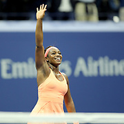 2017 U.S. Open Tennis Tournament - DAY ELEVEN. Sloane Stephens of the United States celebrates victory against Venus Williams of the United States in the Women's Singles Semifinals match at the US Open Tennis Tournament at the USTA Billie Jean King National Tennis Center on September 07, 2017 in Flushing, Queens, New York City.  (Photo by Tim Clayton/Corbis via Getty Images)