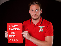 CARDIFF, WALES - Thursday, June 8, 2017: Wales' goalkeeper Daniel Ward holds a Show Racism The Red Card at the Vale Resort ahead of the 2018 FIFA World Cup Qualifying Group D match against Serbia. (Pic by David Rawcliffe/Propaganda)