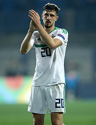 Northern Ireland's Craig Cathcart applauds the fans at the end of the Nations League match at The Grbavica Stadium, Sarajevo.