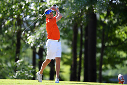 Judd Davis tees off during the Chick-fil-A Peach Bowl Challenge at the Oconee Golf Course at Reynolds Plantation, Sunday, May 1, 2018, in Greensboro, Georgia. (Dale Zanine via Abell Images for Chick-fil-A Peach Bowl Challenge)