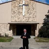 GAINESVILLE, FL -- August 18, 2010 -- Pastor Terry Jones poses for a portrait at the Dove World Outreach Center in Gainesville, Fla., on Wednesday, August 18, 2010.  The church is planning on burning multiple copies of the Koran on the anniversary of the September 11th terrorist attacks.  (Chip Litherland for The New York Times)