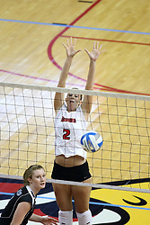 26 October 2007: Kristin Dziubla jumps for a block as Nicole Brown watches the ball on her side of the net. The Drake Bulldogs were defeated 3 - 0  by the Illinois State Redbirds at Redbird Arena on the campus of Illinois State University in Normal Illinois.