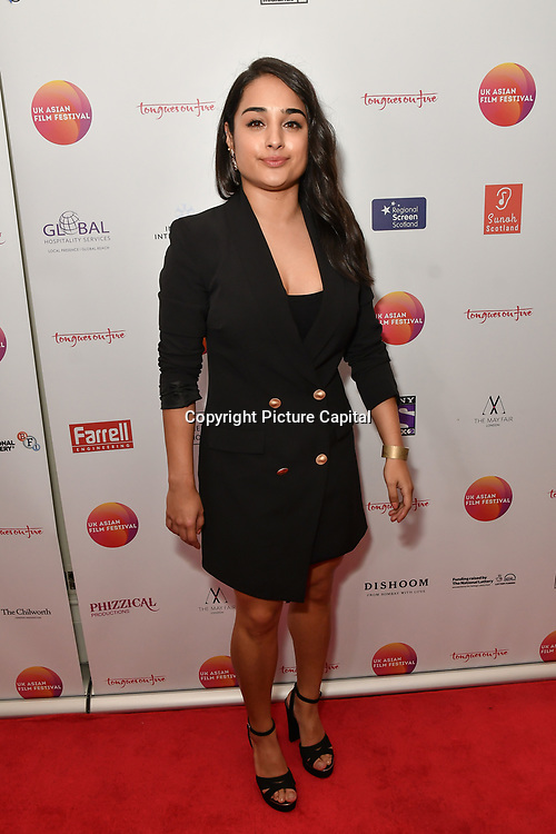 Natali Servat is an actor attends the UK Asian Film Festival closing flame awards gala - Red Carpet at BAFTA 195 Piccadilly, on 7 April 2019, London, UK