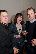 JASSET HARLECH; JASMINE GUINNESS; GAWAIN RAINEY, THE LAUNCH OF THE KRUG HAPPINESS EXHIBITION AT THE ROYAL ACADEMY, London. 12 December 2011.