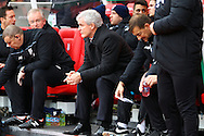 Stoke City Manager Mark Hughes looks on prior to kick off. Barclays Premier league match, Stoke city v Manchester city at the Britannia Stadium in Stoke on Trent, Staffs on Saturday 5th December 2015.<br /> pic by Chris Stading, Andrew Orchard sports photography.