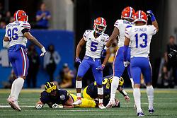 Florida Gators defensive back CJ Henderson #5 celebrates a tackle during the Chick-fil-A Peach Bowl, Saturday, December 29, 2018, in Atlanta. ( Paul Abell via Abell Images for Chick-fil-A Peach Bowl)