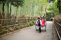 Rickshaw at Arashiyama bamboo groves, found behind Tenryuji Temple and along the trail to the Okochi Sanso. The bamboo is still used to manufacture various products, such as baskets, cups, boxes, mats and pieces of art at workshops in the Arashiyama area.  The bamboo grove trail is known in Japanese as Chikurin-no-komichi