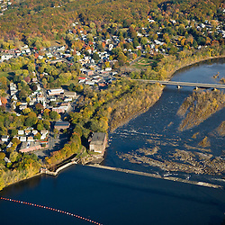The Connecticut River as it flows through South Hadley, Massachusetts.  Holyoke Dam.