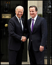 The prime Minister David Cameron says goodbye to the US Vice President Joe Biden at No10 Downing Street after meetings with the Deputy Prime Minister Nick Clegg then a working lunch with Prime Minister, London, Tuesday February 5, 2013. Photo By Andrew Parsons / i-Images