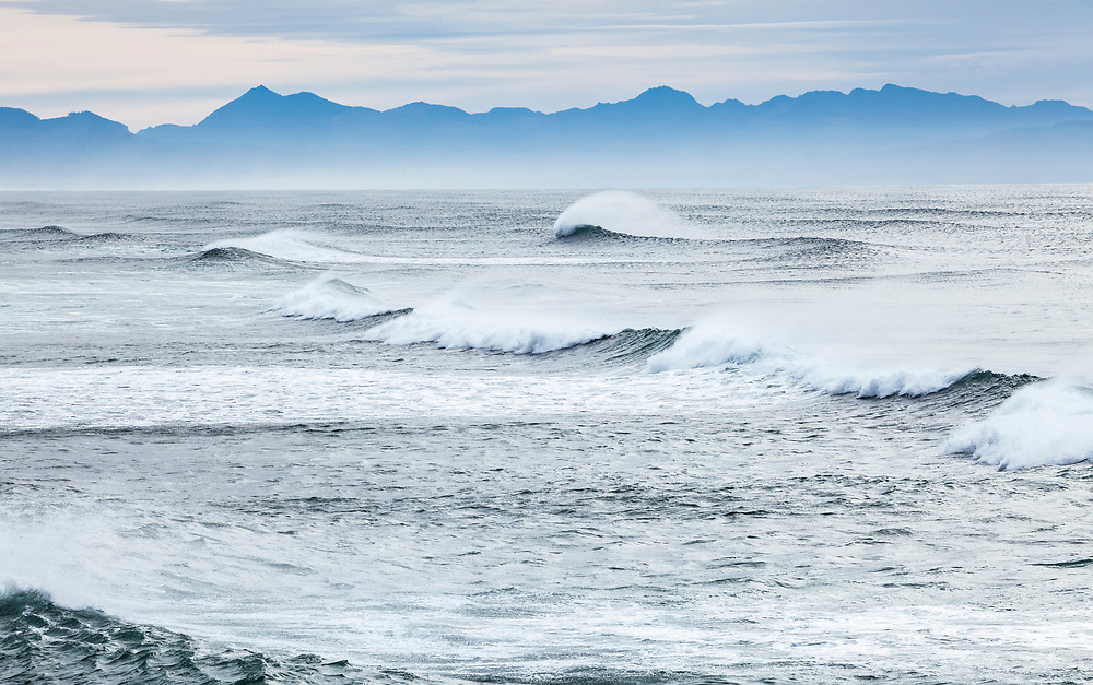 Waves on the Oregon Coast, as seen from Clatsop Spit, Fort Stevens State Park, USA.