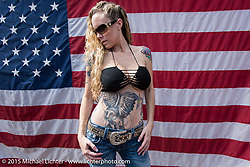"""Michelle Basilotto of FL at Willie's Tropical Tattoo """"Old School Show"""" during Daytona Beach Bike Week 2015. FL, USA. March 12, 2015.  Photography ©2015 Michael Lichter."""