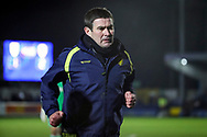 Burton Albion manager Nigel Clough running off pitch during the EFL Sky Bet League 1 match between AFC Wimbledon and Burton Albion at the Cherry Red Records Stadium, Kingston, England on 28 January 2020.