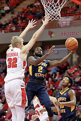 09 December 2017:  Jonathan Stark gets in to the left of Taylor Bruninga during a College mens basketball game between the Murray State Racers and Illinois State Redbirds in  Redbird Arena, Normal IL