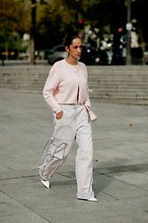 Street style, Emna Sellimi arriving at Ludovic de Saint Sernin Spring Summer 2022 show, held at Institut du Monde Arabe, Paris, France, on Ocotber 3rd, 2021. Photo by Marie-Paola Bertrand-Hillion/ABACAPRESS.COM