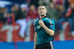 MADRID, SPAIN - Wednesday, October 22, 2008: Liverpool's Robbie Keane celebrates scoring the opening goal against Club Atletico de Madrid during the UEFA Champions League Group D match at the Vicente Calderon. (Photo by David Rawcliffe/Propaganda)