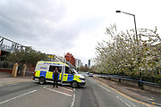 Greater Manchester Police are at the scene in Old Trafford, Manchester on Thursday, April 29, 2021, following an allegation over an explosive device. (Photo/ Vudi Xhymshiti)
