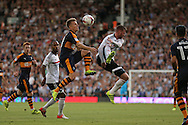 caption correction : Matt Ritchie of Newcastle United and Ryan Tunnicliffe of Fulham both leap for the ball. Skybet EFL championship match, Fulham v Newcastle Utd at Craven Cottage in Fulham, London on Friday 5th August 2016.<br /> pic by John Patrick Fletcher, Andrew Orchard sports photography.<br /> contact and payments to Andrew Orchard, 2 Old Vicarage close, Pengam, Blackwood, Gwent. NP12 3TU. Tel 07974 069129.  vat reg no 615 9784 04,  <br /> no unpaid use, All usage chargeable.