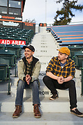 """Brian """"BMo"""" Moore and Ruben Escobedo III of Pick Your Poison Comedy pose for a portrait at Excite Stadium in San Jose, California, on December 29, 2020. (Stan Olszewski/SOSKIphoto for Content Magazine)"""
