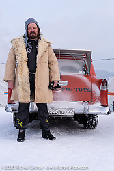 Vladimir Semenyuta, the owner of the Big Boys Big Toys custom car shop, with his Chevy Sedan Delivery at the Baikal Mile Ice Speed Festival. Maksimiha, Siberia, Russia. Thursday, February 27, 2020. Photography ©2020 Michael Lichter.